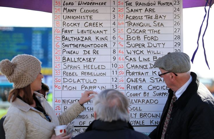Punters check odds boards during Grand National Day of the Crabbies Grand National Festival at Aintree Racecourse