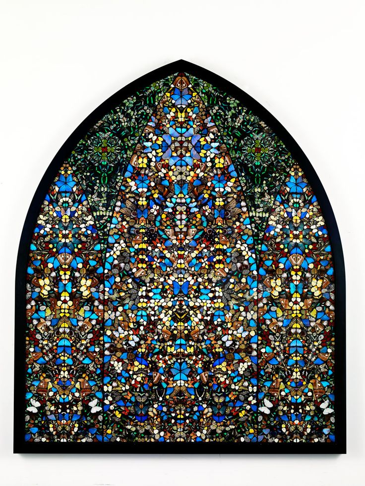 Damien Hirst post modern mosaic made completely from butterflies... grotesque but beautiful
