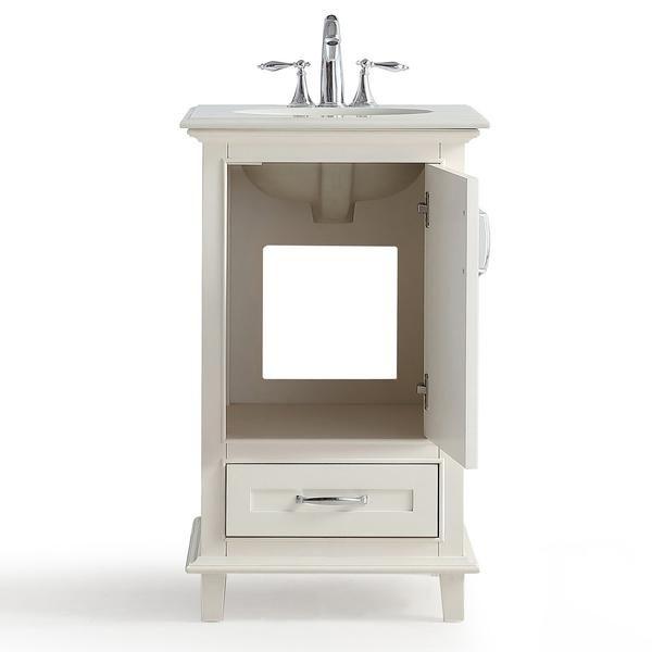 Ariana 20 Inch Bath Vanity With Bombay White Engineered Quartz Marble Top Vanity Bath Vanities Small Bathroom