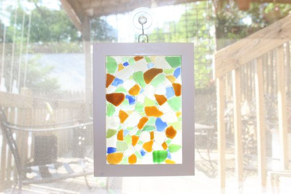"Small Sea Glass Mosaic - Approx 6-1/2"" x 8-1/2"" - $25.00"