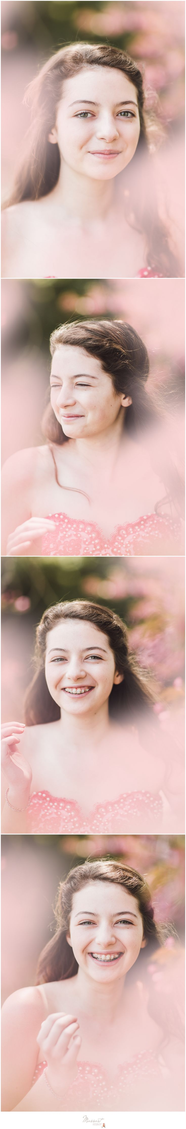 Spring family photo shoot of teenage girl in a pink gown under a cherry blossom tree photographed by Massart Photography of Warwick, Rhode Island.   www.massartphotography.com; info@massartphotography.com