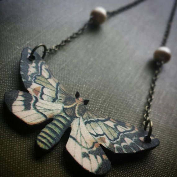 Beauty moth and pearl necklace! https://www.etsy.com/ca/listing/568491399/earthy-brown-moth-insect-boho-necklace