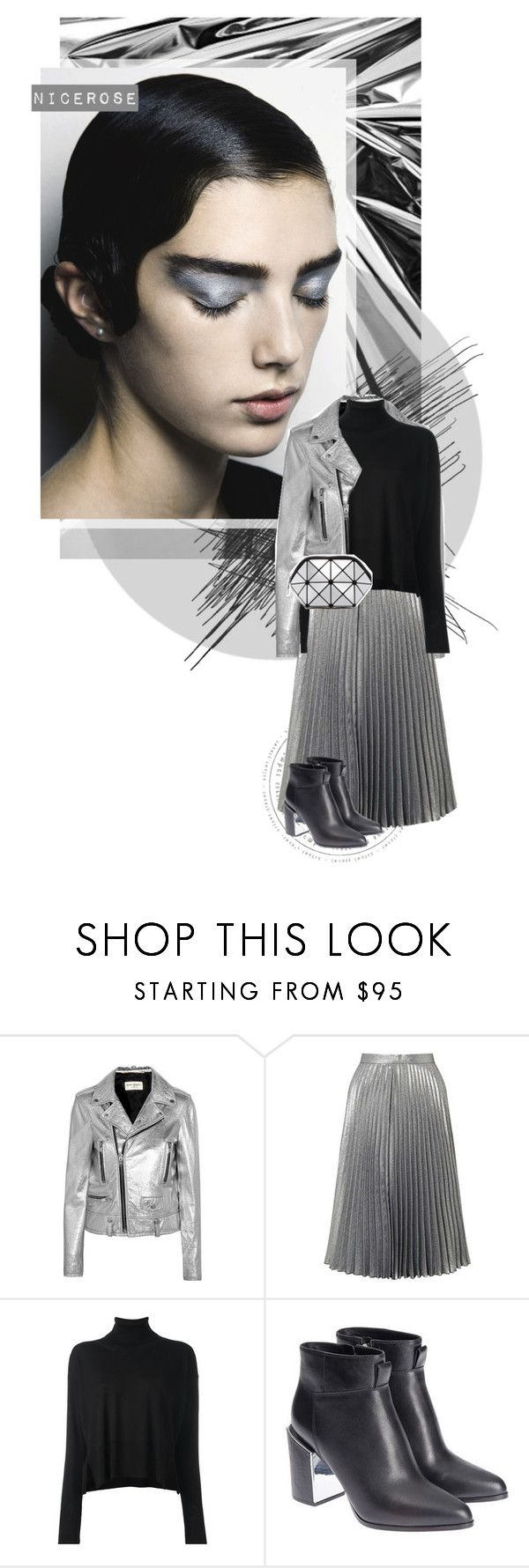 """""""s i l v e r"""" by nicerose ❤ liked on Polyvore featuring WAH, Yves Saint Laurent, Miss Selfridge, MM6 Maison Margiela, Kenzo, SR Squared by Sondra Roberts, black, Silver and metallic"""