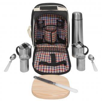 Picknick Rucksack Picknicktasche Kühltasche Kühlfach + Geschirr Besteck schwarz