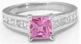 Princess Cut Pink Sapphire and Diamond Rings (GR-5773)