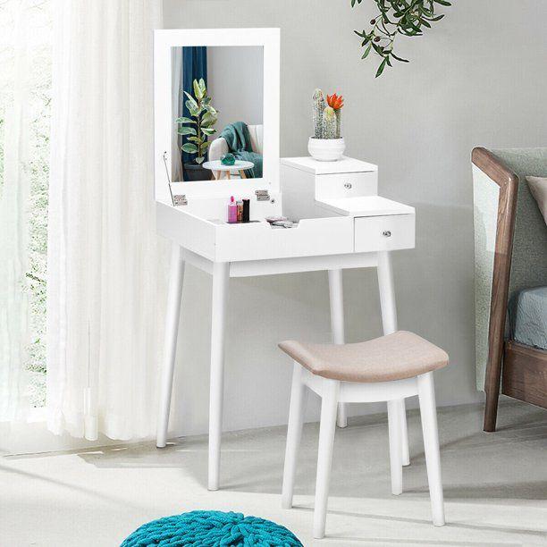 Costway Vanity Dressing Table Flip Desk Furniture Stool 2 White Walmart Com In 2020 Small Vanity Table Dressing Table Set Desk Furniture