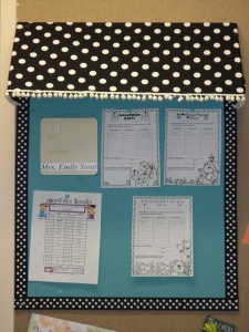 Easy bulletin board made from science-fair-type poster.