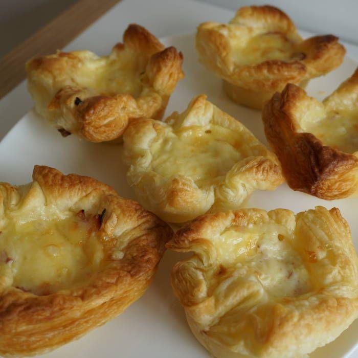 Minipajer med ost och skinka