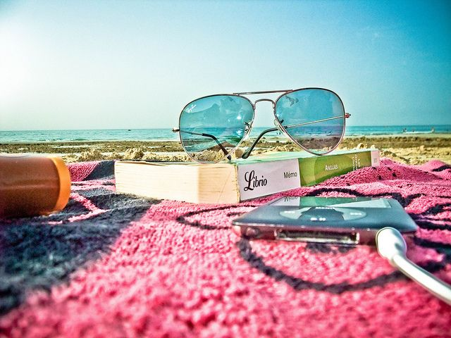 the best things in life: a good book, music, and the ocean