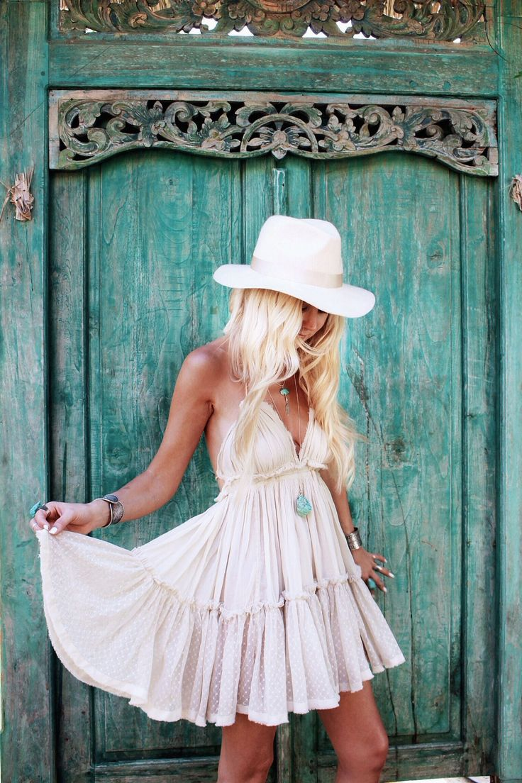 ≫∙∙ boho, feathers + gypsy spirit ∙∙≪ Hippie chic + bohemian summer white ruffle slip dress + turquoise jewelry vintage