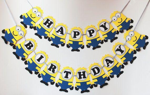 Minions Birthday Banner Despicable Me by RaisinsPartySupplies
