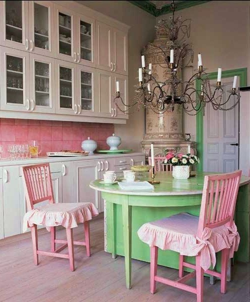 Cute pink + green + white kitchen! American Girl dollhouse kitchen inspiration.