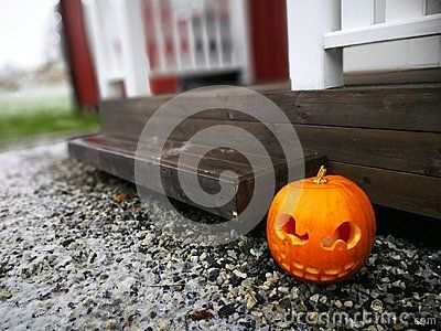Halloween house decoration with a pumpkin