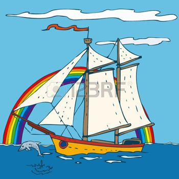oceaan%3A+Zeilschip+met+met+blauwe+hemel+en+de+oceaan.+Vector+illustratie