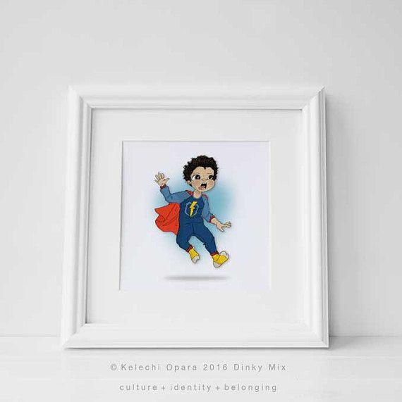Dinky Mix 'Aaarrgh!' Jumping Mediterranean Boy, Olive Skin with Curly Hair, Superhero illustration print, art for children,nursery decor