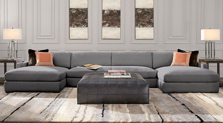 Sectional couches for sale. Large & small sectional sofa sets: 2, 3, 4, 5 and 6 piece. L-shaped, u-shaped with recliner, chaise & more. Grey, white, brown, etc.#iSofa #roomstogo