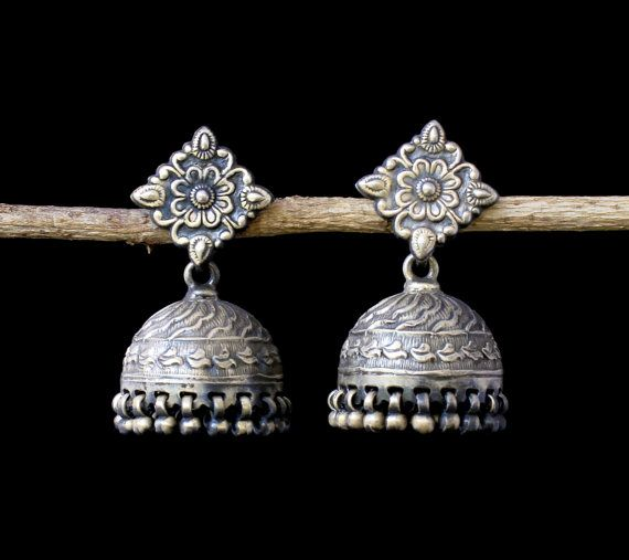 Jhumka Sterling Silver Oxidised Antique finish by KevaDesigns