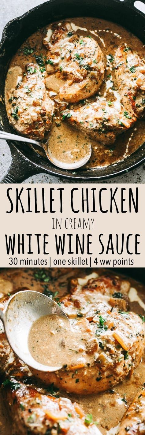 Skillet Chicken in White Wine Sauce – Quick and easy skillet seared chicken topped with a creamy garlic and onions white wine sauce that's sure to please any crowd! #wine #chicken