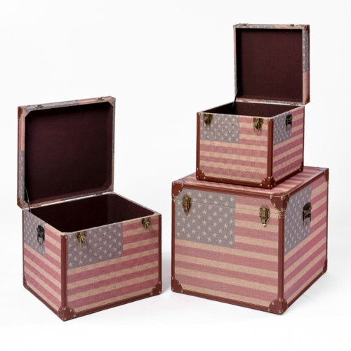Charming Set Of 3 Stacking USA Flag Decorative Storage Trunks