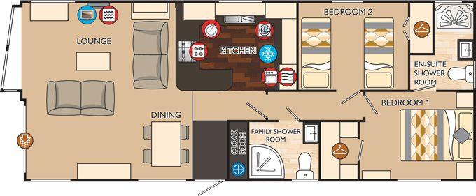 Boston series 3 40 x 16 2 bed sleeps 4 floor plan 16 39 x40 for 16x40 floor plans