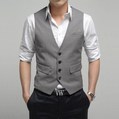 Casual Wedding Attire For Men Vestfree Shipping Korea Style Slim Male V Neck Suit Vest Men White The Ttwiuep - hate the belt, love the rest Women, Men and Kids Outfit Ideas on our website at 7ootd.com #ootd #7ootd