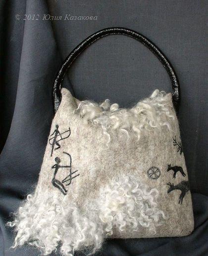 """Войлочная сумка """"Артефакт"""" - шерсть,войлок,Валяние,кудри,наскальные рисунки"""