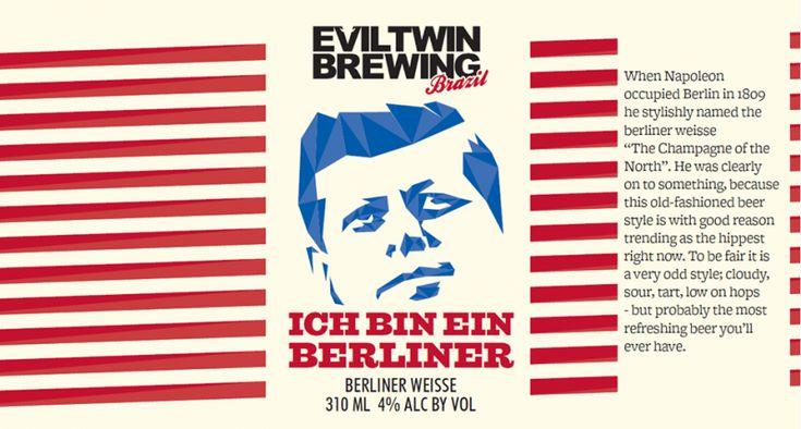 Cerveja EvilTwin Brazil Ich Bin Ein Berliner, estilo Berliner Weisse, produzida por Evil Twin Brewing, Estados Unidos. 4% ABV de álcool.
