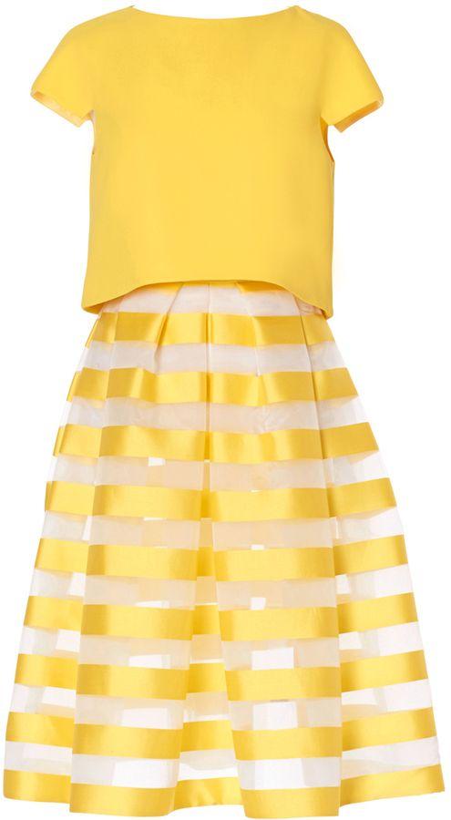 Carla Zampatti Striped Circular Skirt