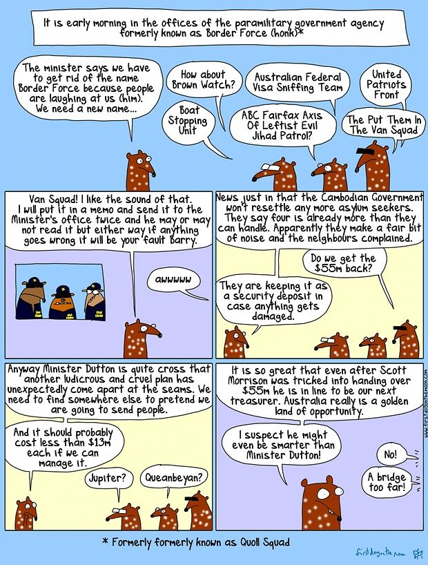 Border Force is over. Give it up for Van Squad! Cartoon by FIRST DOG ON THE MOON