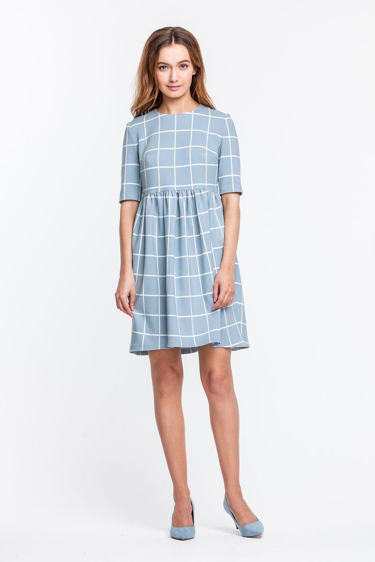 2282 Платье мини голубое в белую клетку, юбка-тюльпан купить в Украине, цена в каталоге интернет-магазина брендовой одежды Musthave