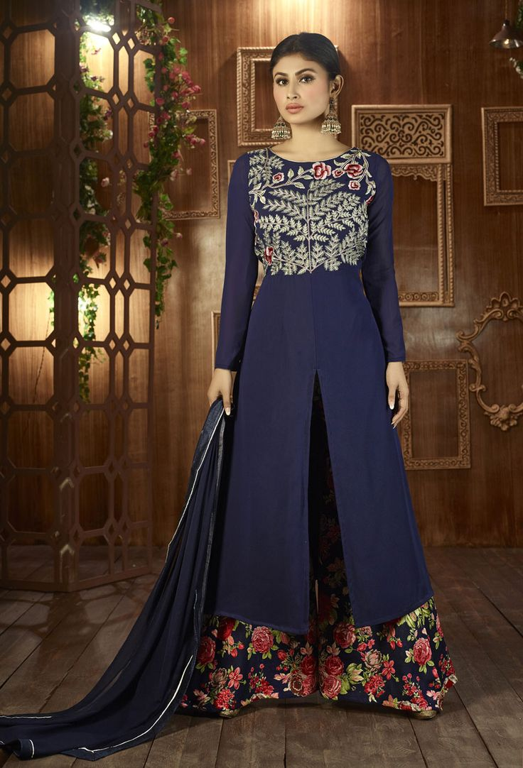 #Mouni #Roy In #Blue Georgette #Anarkali #Suit #nikvik  #usa #designer #australia #canada #freeshipping #suits #pakistani