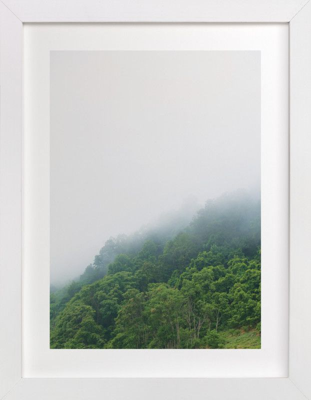 """""""Foggy mountain"""" - Art Print by Aniko Levai in beautiful frame options and a variety of sizes."""