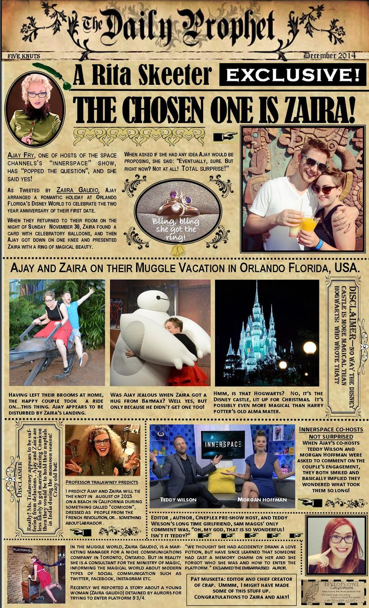 Ajay Fry and Zaira Gaudio became  engaged on 30/11/14, and I created a custom edition of The Daily Prophet to celebrate it.
