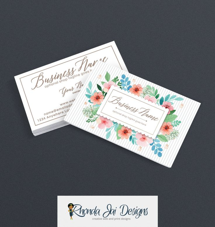 57 best etsy business cards images on pinterest business card business card designs 2 sided printable business card design floral business card stylish reheart Choice Image