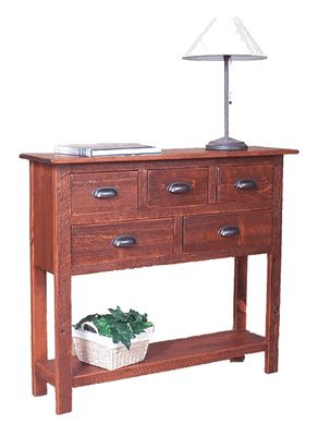 Antique Style Rustic Furniture: The Cumberland Sideboard is a great serving and storage solution for narrow dining room and kitchen spaces, and it has superior rustic style. Made from reclaimed pine barn timbers, the Cumberland Sideboard has 5 drawers and a bottom shelf and it fits nicely in those tighter spaces. Dimensions: 36 inches high by 42 inches wide by 12 inches deep.
