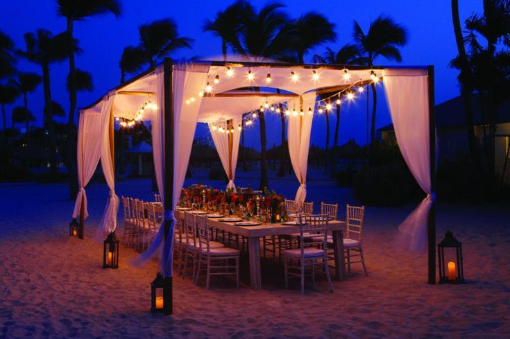Beach Wedding Reception At Aruba Marriott Resort Beach