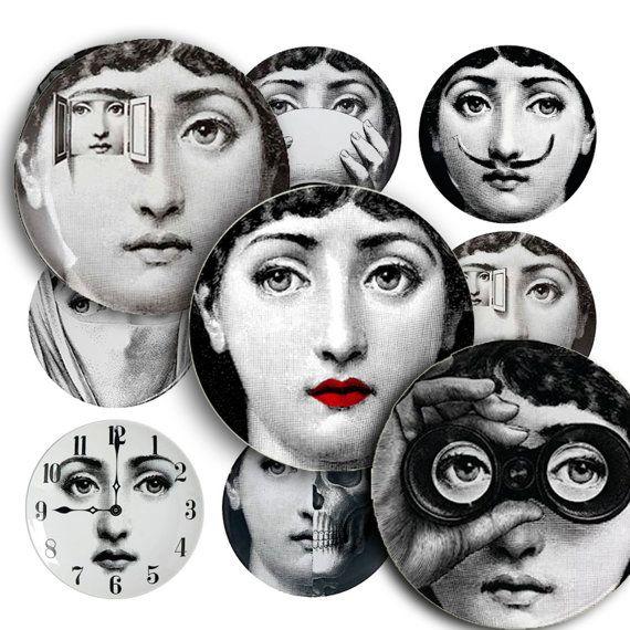 1inch(25mm) cercle rond Vintage Fornasetti Art Collage Image numérique pour pendentif de carreaux de verre et bien plus encore...De Mazix sur Etsy, $4.50 CAD
