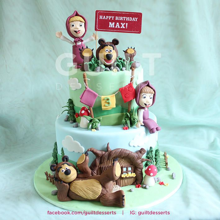 My first Masha & Bear cake… The client asked for 2 pairs of Masha & Bear so here it is.. Thanks for looking..!