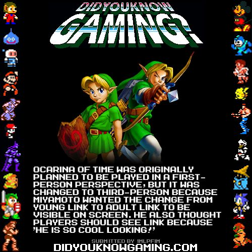 The Legend of Zelda: Ocarina of Time.  The change from FPS was triggered by Yoshiaki Koizumi, who was proud of Link's model and wanted it to be seen.  http://iwataasks.nintendo.com/interviews/#/wii/crossbow/0/0 Iwata Asks : Link's Crossbow Training