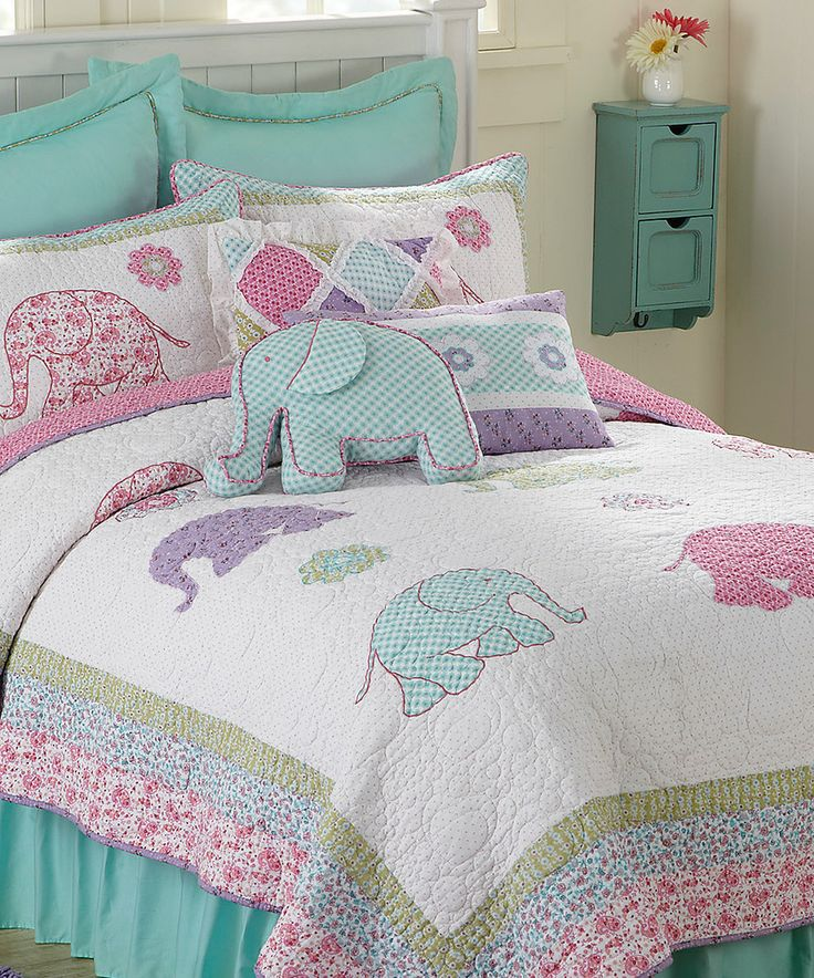 Elephantastic Embroidered Quilt by Britannica Home Fashions #zulily #zulilyfinds