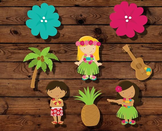 16 luau cupcake toppers luau party decor by MyHeartnSoulBoutique