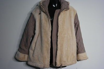 GALLERY WOMEN'S REVERSIBLE BEIGE FAUX FUR HOODED COAT/JACKET SIZE SMALL