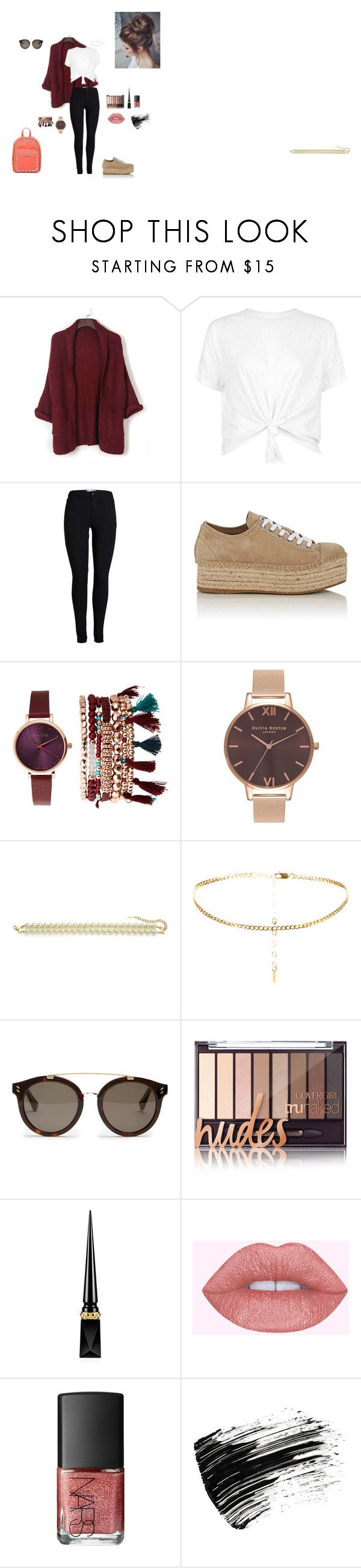 """Burdeos"" by paolamaitanl ❤ liked on Polyvore featuring WithChic, Miu Miu, Jessica Carlyle, Olivia Burton, Saks Fifth Avenue, STELLA McCARTNEY, Christian Louboutin, NARS Cosmetics, Marc Jacobs and Love Moschino"