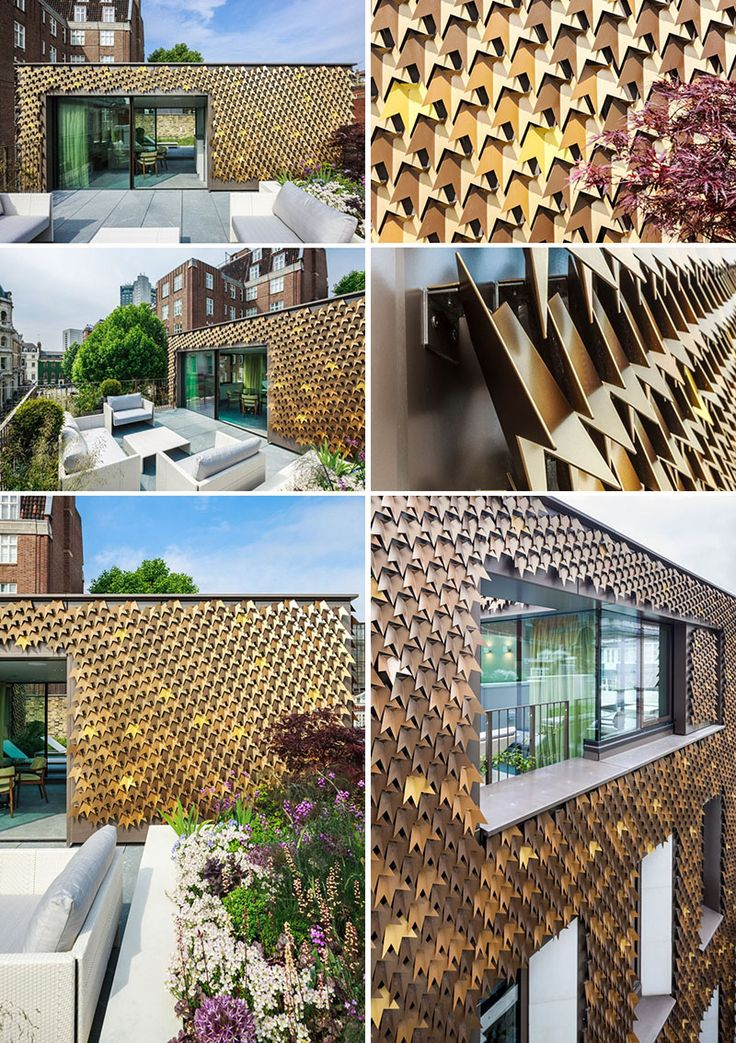 15 Buildings That Have Unique And Creative Facades // 4080 metal shingles in the shapes of leaves cover the facade of this London home.