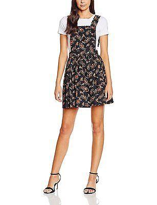 14, Black, Boohoo Women's Sophia Floral Print Cord Pinafore Dress NEW