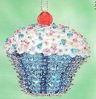 "Kit makes 2 ""Blue Confetti Cupcake"" Bead & Sequin Ornaments Christmas NEW"