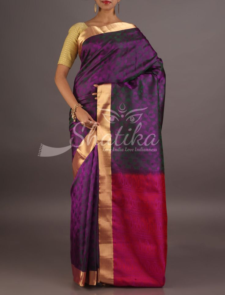 Sandhya Deep Self-Weave Purple With Solid Gold Border Contrast Pallu Coimbatore Silk Saree