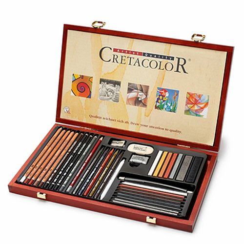 Includes 36 professional quality drawing items like erasers, sharpners, sketching pencils, pastel pencils, Aqua Monolith Pencils, Monolith and Watersoluble Graphite, Charcoal and Graphite Sticks.
