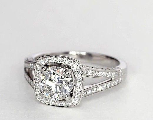 1.15 Carat Diamond Monique Lhuillier Split Shank Halo Diamond Engagement Ring | Recently Purchased | Blue Nile