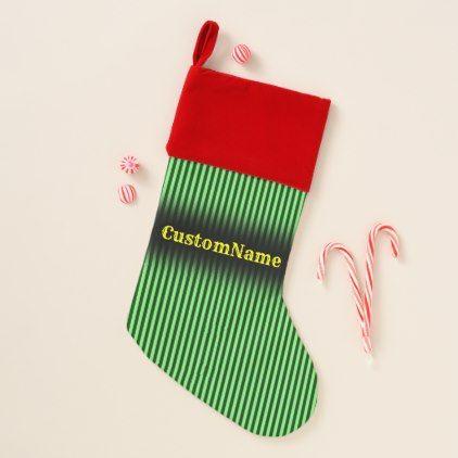 Dark Green & Light Green Stripes/Lines Pattern Christmas Stocking - home gifts cool custom diy cyo